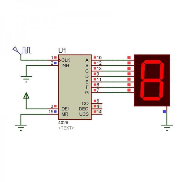 Diagramme CD4026 compteur décodeur 7 segments DIP-16