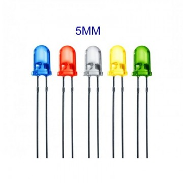Diode LED 5MM Blanc Rouge Vert Bleu Jaune 20MA
